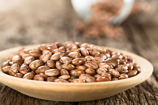 Raw dried pinto beans on wooden plate (Selective Focus, Focus one third into the beans)