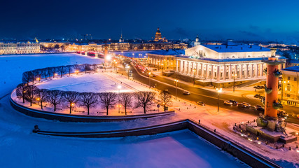 Saint Petersburg. Spit of Vasilyevsky Island. Winter. Panorama of the night Petersburg. Cities of Russia Winter. Petersburg on the eve of the new year. St. Petersburg in the winter. Russia.