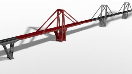 Modello tridimensionale del ponte Morandi di Genova, Liguria, Italia, Illustrazione, 3D rendering