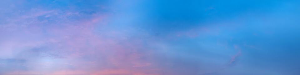 Vibrant panorama sky on twilight time. Beautiful cirrus cloud. Panoramic image
