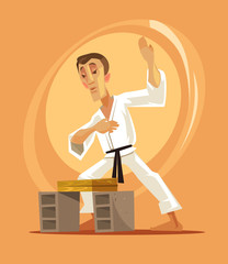 Karate fighter man character. Vector flat cartoon illustration