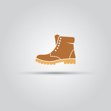 Boot men shoe isolated vector icon