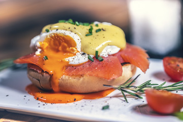 Egg Benedict with smoked salmon and fresh Hollandaise sauce.