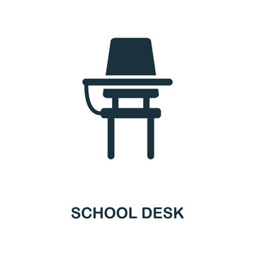 School Desk icon. Monochrome style icon design from school icon collection. UI. Illustration of school desk icon. Pictogram isolated on white. Ready to use in web design, apps, software, print.