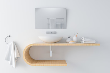 white basin on wooden shelf and mirror on wall, 3D rendering Fototapete