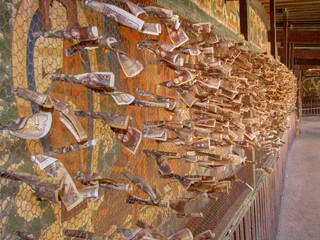 Money offerings put in chicken wire at the Palcho Monastery, Gyantze, Tibet