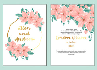 Universal template of  invitation or  card.Flower composition, leaves, twig, wreath . Pastel pink, green-blue color. Gold geometric frame. White background. The imitation of watercolor.