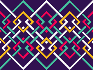 Seamless pattern with many intersecting lines and corners. Chain of geometric shapes Wall mural