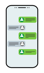 Social network icon concept. Vector chat messages notification in smartphone