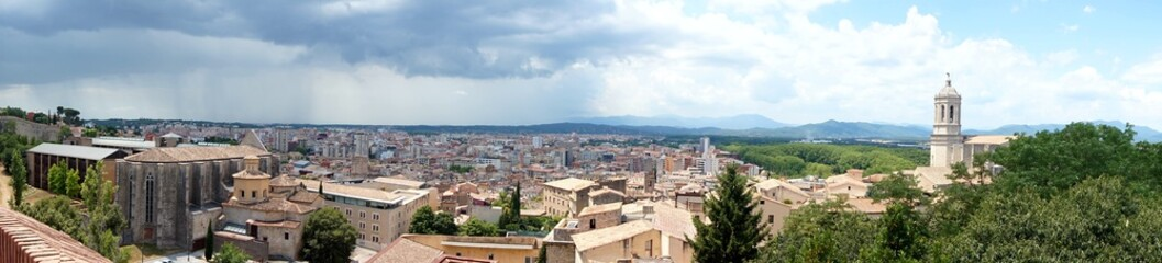 Panorama of the ancient Spanish city of Girona, opening from the walls of the fortress