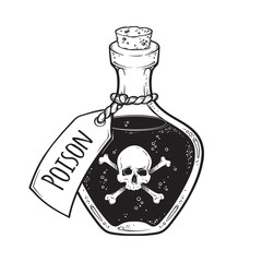 Poison in bottle line art and dot work hand drawn vector illustration. Boho style sticker, patch, print or blackwork flash tattoo design.