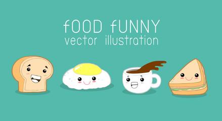 Fun breakfast, funny food, eggs, toast, coffee cup, sandwich,vector illustration