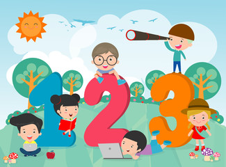 Cartoon kids with 123 numbers, children with Numbers,Vector Illustration Wall mural