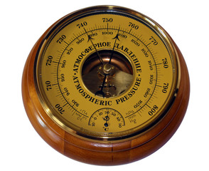 Barometer aneroid isolated on white background