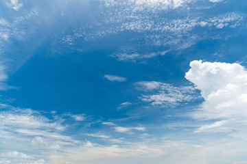 Blue sky background with clouds. Nature and Background concept. Space and air theme.