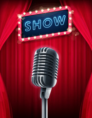 show banner with microphone
