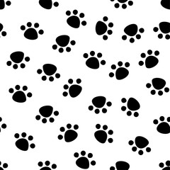 Seamless pattern with animal paw prints, cute Pet paws, background texture. vector illustration.