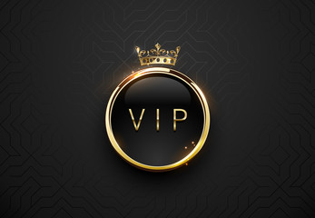 Vip black label with round golden ring frame sparks and crown on black geometric background. Dark glossy premium template. Vector luxury illustration.