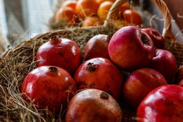 Red pomegranate harvest