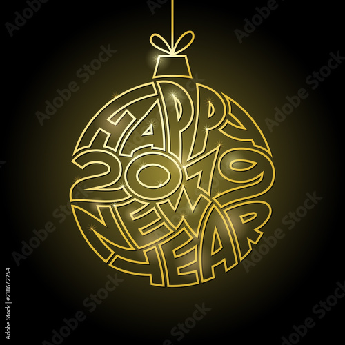 happy new year background with golden christmas ball greeting card or invitation design template
