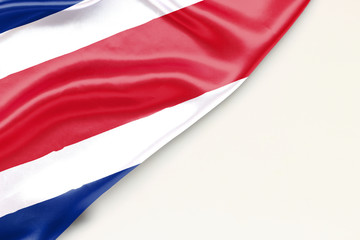 Flag of Costa Rica: white background and place for text
