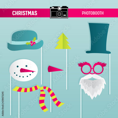 Christmas Retro Party set of Glasses, Hats, Moustaches