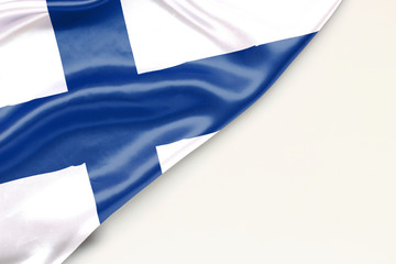 Flag of Finland: white background and place for text