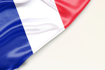 Flag of France: white background and place for text