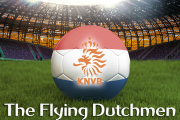 The Flying Dutchmen on Netherlands language on football team ball on big stadium background. 3d rendering. Netherlands Team competition concept. Netherlands flag on ball team tournament.
