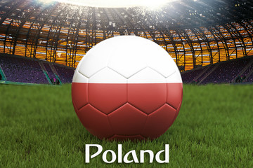 Poland football team ball on big stadium background. Poland Team competition concept. Poland flag on ball team tournament in Poland. 3d rendering. Sport competition on green grass background