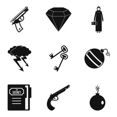 Anti terrorism icons set. Simple set of 9 anti terrorism vector icons for web isolated on white background