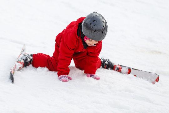 little girl learns to ski