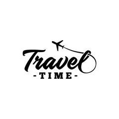 Travel time. Hand drawn lettering. Vector and illustration.