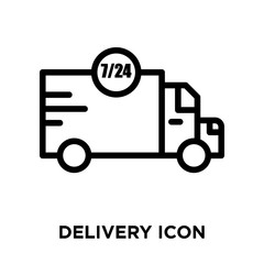 Delivery icon vector isolated on white background, Delivery sign , line or linear sign, element design in outline style