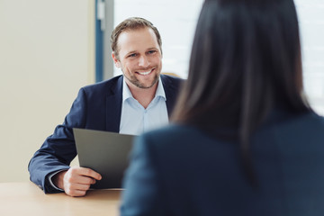 Smiling personnel manager in a job interview