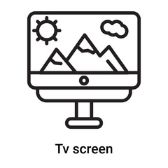 Tv screen icon vector isolated on white background, Tv screen sign , line or linear symbol and sign design in outline style