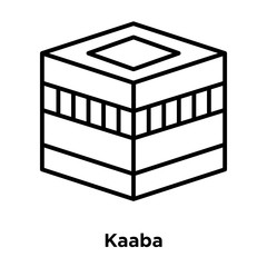 Kaaba icon vector isolated on white background, Kaaba sign , thin line design elements in outline style