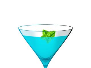 Bebida azul num fundo branco