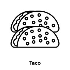 Taco icon vector isolated on white background, Taco sign , thin line design elements in outline style