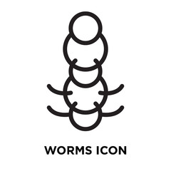 Worms icon vector isolated on white background, Worms sign , line symbol or linear element design in outline style