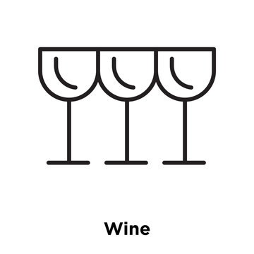 Wine icon vector isolated on white background, Wine sign , thin line design elements in outline style