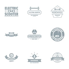 Electric scooter logo set. Simple set of 9 electric scooter vector logo for web isolated on white background
