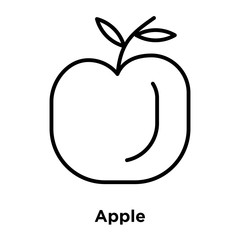 Apple icon vector isolated on white background, Apple sign , thin line design elements in outline style