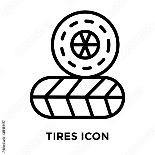 tires icon vector isolated on white background tires sign linear