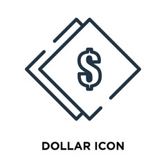 Dollar icon vector isolated on white background, Dollar sign , line symbol or linear element design in outline style