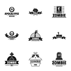 Zombie way logo set. Simple set of 9 zombie way vector logo for web isolated on white background