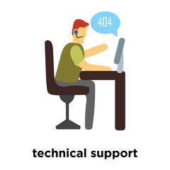 technical support icon vector isolated on white background, technical support sign , standing human or people cartoon character illustration