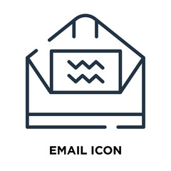 Email icon vector isolated on white background, Email sign , line symbol or linear element design in outline style
