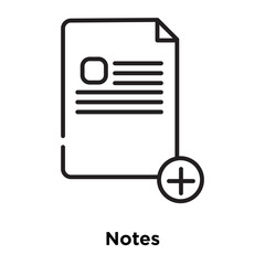 notes icon isolated on white background. Simple and editable notes icons. Modern icon vector illustration.