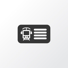 Train ticket icon symbol. Premium quality isolated entry element in trendy style.